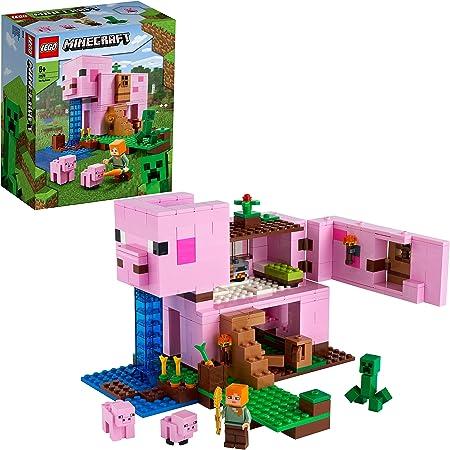 LEGO21170MinecraftLaCasa-Cerdo,SetdeConstrucciónconFigurasdeAlexyCreeper