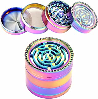USecret Funny Colorful Metal Zinc Alloy 4 Pieces Spice Herb Grinder,the Lid is a Labyrinth Ball Maze Puzzle Game (52mm/2inch)
