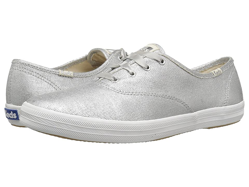 Retro Vintage Flats and Low Heel Shoes Keds Champion Matte Brushed Metallic Silver Womens Lace up casual Shoes $55.00 AT vintagedancer.com