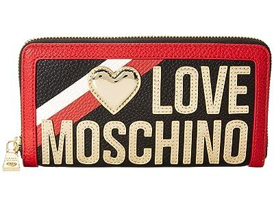 LOVE Moschino Racer Stripe Zip Around Wallet (Black) Handbags
