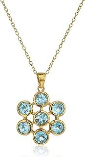 Gold Plated Sterling Silver Blue Topaz Flower Pendant Enhancers, 18