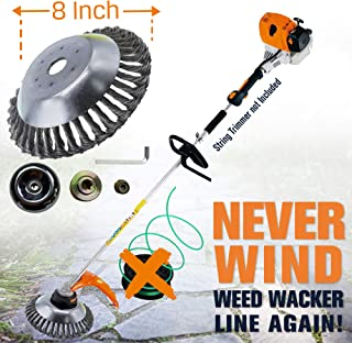 "APACHICHI Weed Eater-Weed Wacker-String Trimmer Lawn Mower-Unbreakable Lawn Tool-8"" Wire Steel Brush for Pavement Surface Grass-Lawn Edger-Mower Grass Garden Patio-Rust Removal-Adapter Kit Included."