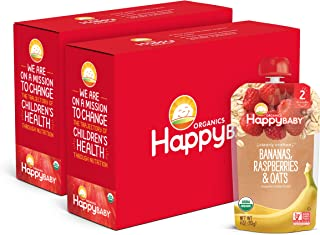 Happy Baby Organic Clearly Crafted Stage 2 Baby Food Bananas, Raspberries & Oats, 4 Ounce Pouch (Pack of 16) (Packaging May Vary)