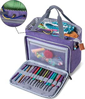 Luxja Crochet Tote Bag, Yarn Storage Bag for Small Unfinished Projects, Crochet Hooks and Other Accessories, Purple