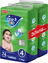 Fine Baby Diapers, Size 4, Large 7–14kg, Mega Pack, 2 packs of 74 diapers, 148 total count