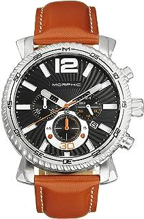 Morphic - Reloj cronógrafo serie M89 con correa de cuero con fecha