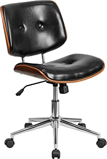 Flash Furniture Low Back Black Leather Ergonomic Wood Swivel Task Office Chair