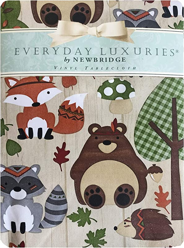 Newbridge Woodsy Animal Friends Fall And Thanksgiving Vinyl Flannel Backed Tablecloth Whimsical Forest Creatures Kitchen And Dining Room Print Easy Care Print Tablecloth 60 X 102 Oblong Rectangle