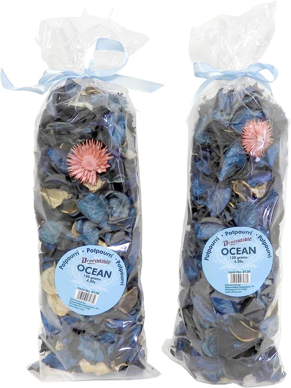 Fresh Scent Potpourri Petal Bowl and Vase Filler Home Decor 2 Large Bags 120 Grams Each (Ocean Scent)