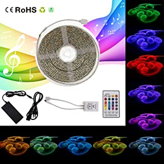 LED Strip Lights Sync to Music, 32.8ft/ 10m RGB Color Changing Rope Light, SMD 5050 Waterproof Music String Lighting Kit with 24-Key IR Remote Controller for Home Bar Decor (16.4ft/ 5m)