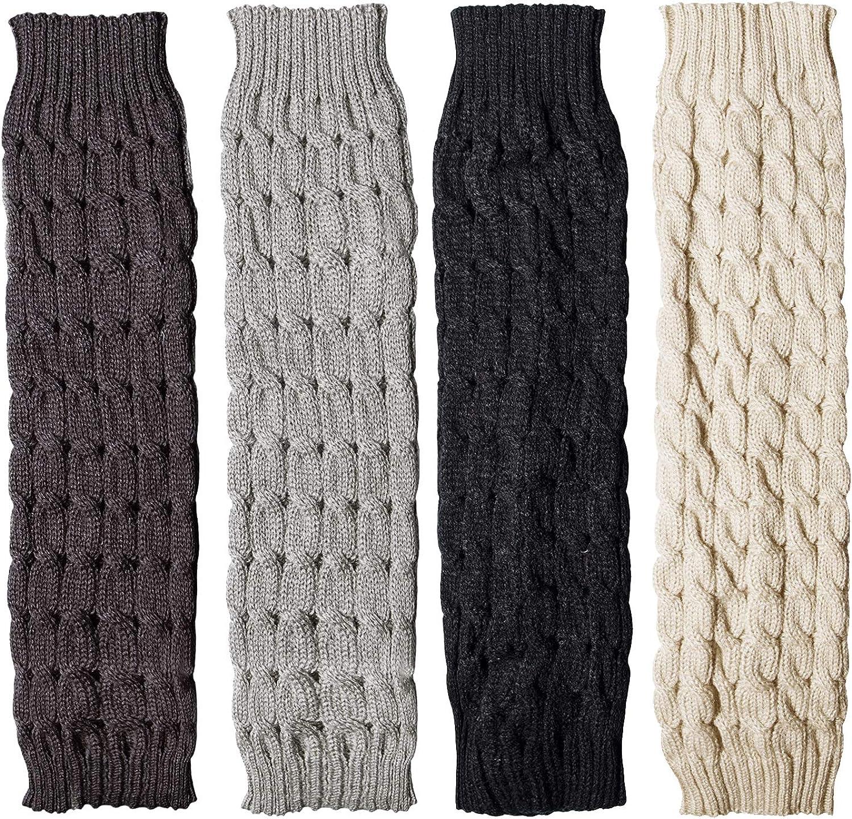 Loritta 4 Pairs Women Knit Leg Warmers Winter Warm Long Boot Socks