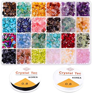 Crystal Chips and Gemstones Beads for Jewelry Making, Cridoz 24 Colors Gemstones Chips Jewelry Bracelet Beads for Jewelry ...