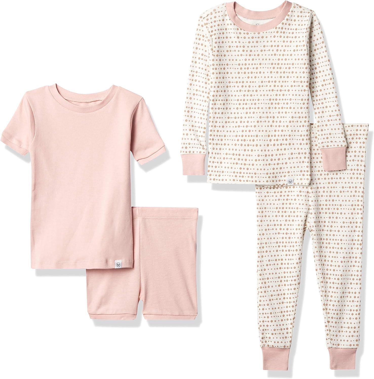 HonestBaby 4-Piece Organic Cotton Short and Long PJ Set, Sugar Swizzle Linear Dot Pink, 24 Months
