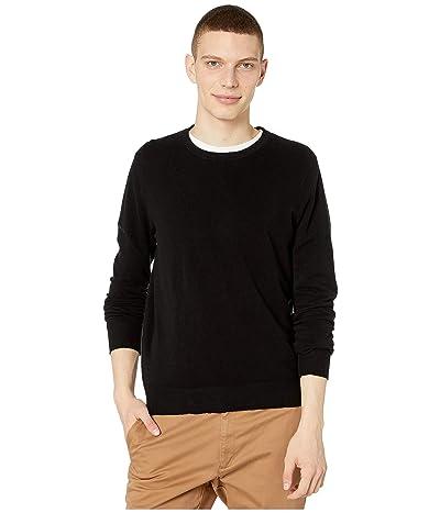J.Crew Cotton-Cashmere Pique Crewneck Sweater (Black) Men