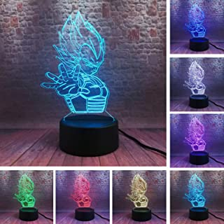 Fanrui Dragon Ball Z Vegeta Saiyan Legends 7 Color Change 3D Figure Colorful Night Light Creative Professional Touch Table Bedside Bedroom Lamp Fans Boys Man Teens Little Sons Birthday Xmas Toys Gifts