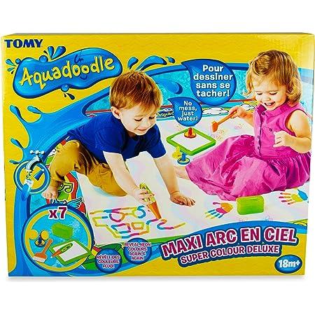 TOMY - Maxi Tapis Aquadoodle Fluo T72372, Tapis de Dessin à Eau Géant Arc-en-ciel, Coloriage Géant, Tapis d'Éveil Adapté aux Enfants dès 18 mois