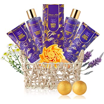 Relaxing Spa Gift Basket for Women - 9 Pcs Luxury Aromatherapy Lavender and Chamomile at Home Spa Bath Body Set - Christmas Birthday Mothers Day Gift Set for her - Mom Wife Sister Daughter Aunt
