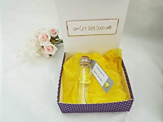 Get well soon gift miniature yellow rose in glass bottle 7cmx2cm
