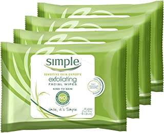 Simple Kind to Skin Cleansing Wipes Gentle and Effective Makeup Remover Exfoliating Free from...