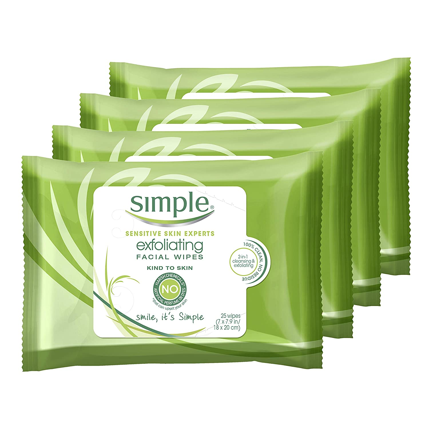 Simple Kind to Skin Cleansing Wipes Gentle and Effective Makeup Remover Exfoliating Free from color and dye, artificial perfume and harsh chemicals 25 Wipes 4 Count: Beauty