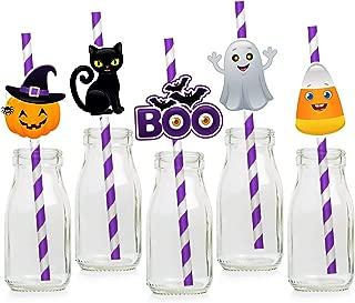 Halloween Paper Straws - Halloween Party Decorations Supplies for Kids - Pumpkin Ghost Black Cat Candy Corn Boo Spider Bat- Set of 25