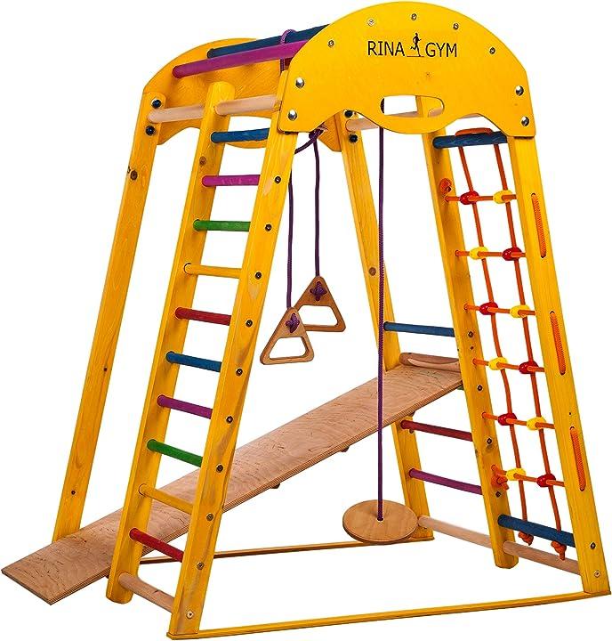 rinagym palestra per bambini - parco giochi in legno di betulla da interno per casa e scuola, adatto a bimbi di 1-5 b07ptp922v