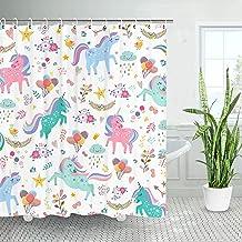 LIVILAN Unicorn Kids Shower Curtain Set with 12 Hooks, Colorful Girl Baby Fabric Bath Curtain, Cute Cartoon Animal Modern ...