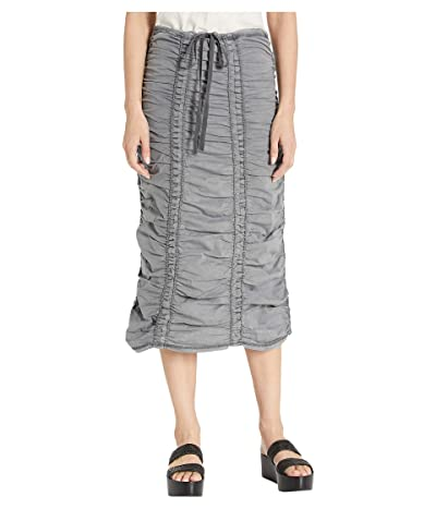XCVI Stretch Poplin Double Shirred Panel Skirt (Nocturne Pigment) Women