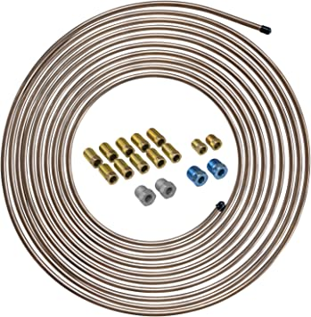 4LIFETIMELINES 25 ft 1/4 True Copper-Nickel Alloy Non-Magnetic Brake Line Replacement Tubing Coil and Fitting Kit, 16 Fittings Included, Inverted Flare, SAE Thread, 0.028 inch wall thickness: image