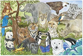 """Melissa & Doug Endangered Species Floor Puzzle (Easy-Clean Surface, Promotes Hand-Eye Coordination, 48 Pieces, 24"""" L x 36"""" W, Great Gift for Girls and Boys - Best for 3, 4, 5, and 6 Year Olds)"""