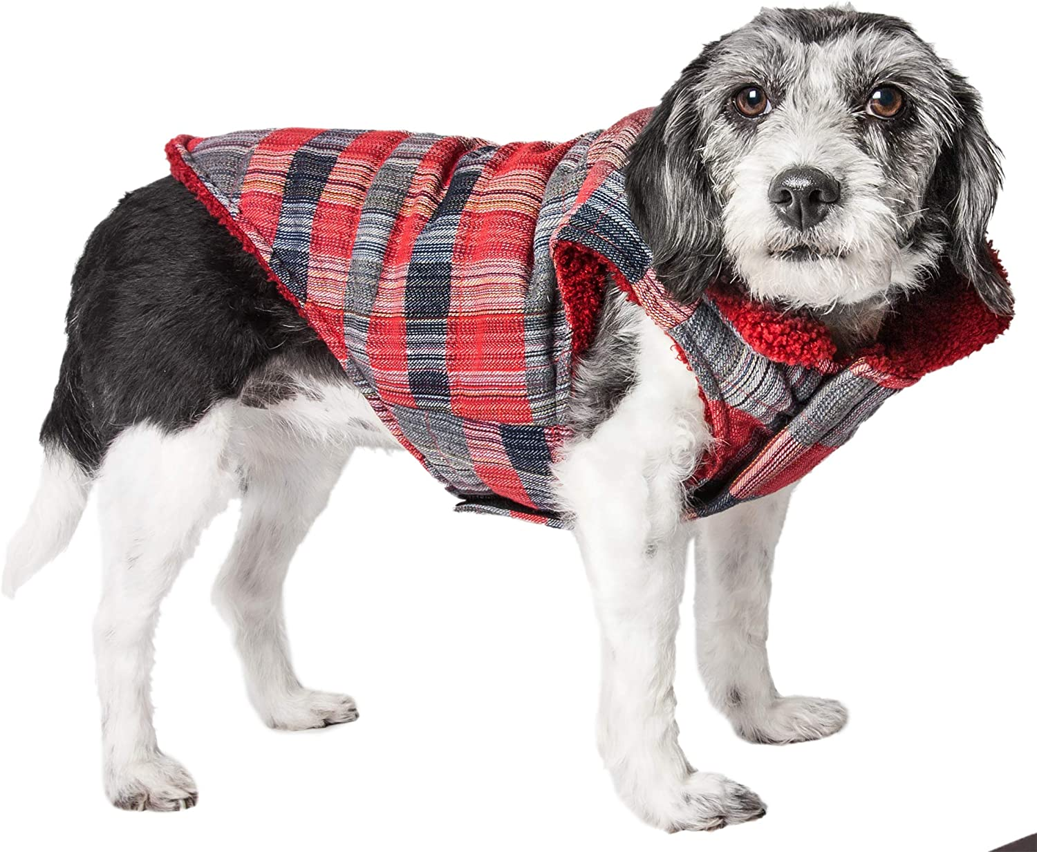 Pet Life Scotty' Tartan Classical Plaided Insulated Dog Coat Jacket, Small, Red