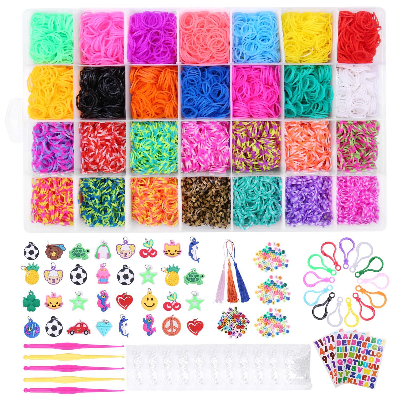 Tintec Gomitas para Hacer Pulseras, 10000Pcs Gomitas Elásticas Plásticas de 28 Colores para Tejer Bandas de Goma de Juguete para Niñas Anillos Collares de Bricolaje Manualidad Niña: Amazon.es: Juguetes y juegos