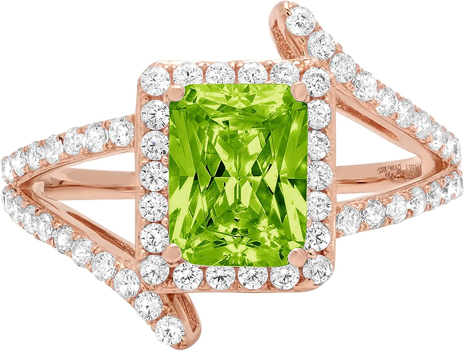 2.04ct Emerald Cut Solitaire with Accent Halo Criss Cross Genuine Natural Vivid Green Peridot Gemstone Ideal VVS1 Engagement Promise Statement Anniversary Bridal Wedding ring 14k Pink Rose Gold