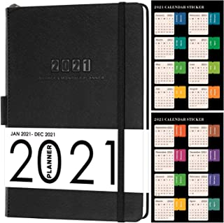"""2021 Planner - Weekly Monthly Planner, 5.75"""" x 8.25"""", Saffiano Leather with Thick Paper, Back Pocket with 88 Notes Pages -... photo"""