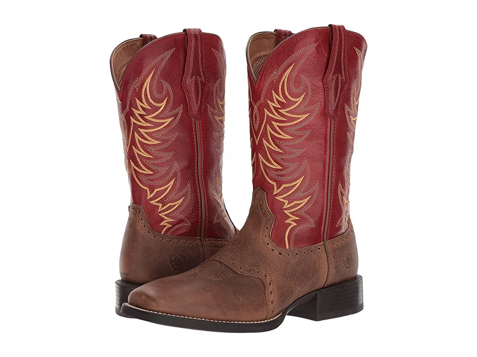 Ariat Sport Sidewinder (Baked Brown/Cherry Red) Cowboy Boots
