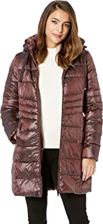 Womens Ruched Stand Collar 3/4 Soft Down Jacket