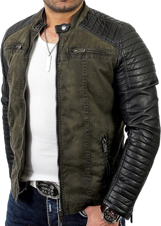 Areena Design Men's Jacket Slim-Fit Casual Faux Leather Cotton Biker Modern Coats Khaki