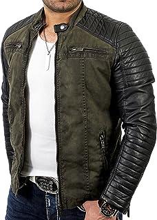 Red Bridge Men's Jacket Slim-Fit Casual Faux Leather Cotton Biker Modern Coats