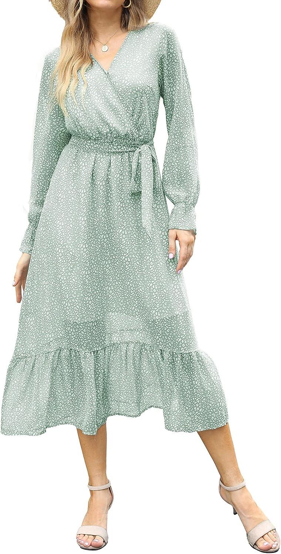 BTFBM Women's Casual Dresses Long Sleeve Wrap V Neck Floral Print Bohemian Swing A-Line Pleated Hem Midi Dress with Belt