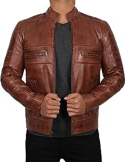 Brown Leather Jacket Men - Café Racer Genuine Distressed Lambskin Brown Mens Leather Jacket
