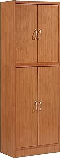 Hodedah 4 Door Kitchen Pantry with Four Shelves, Cherry