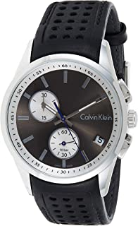 Calvin Klein K5A371C3 Mens Quartz Watch, Chronograph Display and Leather Strap - Black