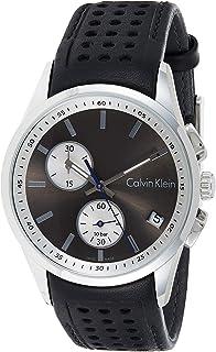 ساعة كوارتز بعرض كرونوغراف وسوار من الجلد للرجال من كالفن كلاين، باللون الاسود، طراز K5A371C3