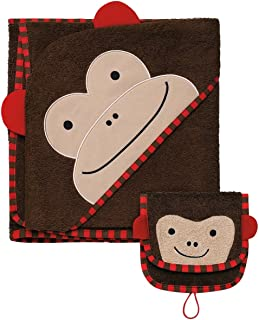 Skip Hop Zoo Baby Infant and Toddler Soft Cotton Hooded Bath Towel and Mitt Washcloth Set, Two Pieces, Multi, Marshall Monkey