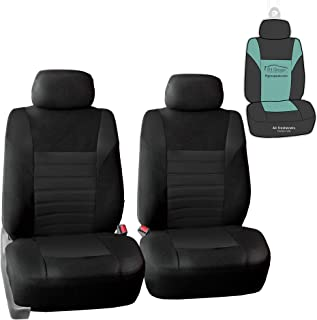 FH Group FB068102 Premium 3D Air Mesh Seat Covers Pair Set (Airbag Compatible) w. Gift, Solid Black Color- Fit Most Car, Truck, SUV, or Van