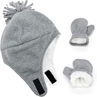 Baby Boys Winter Caps Infant Toddler Warm Fleece Lined Hats and Mitten Set
