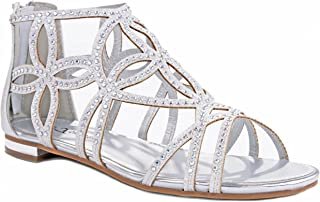 JJF Shoes Women Sparkling Crystal Rhinestone Strappy Cut Out Gladiator Flat Dress Sandals