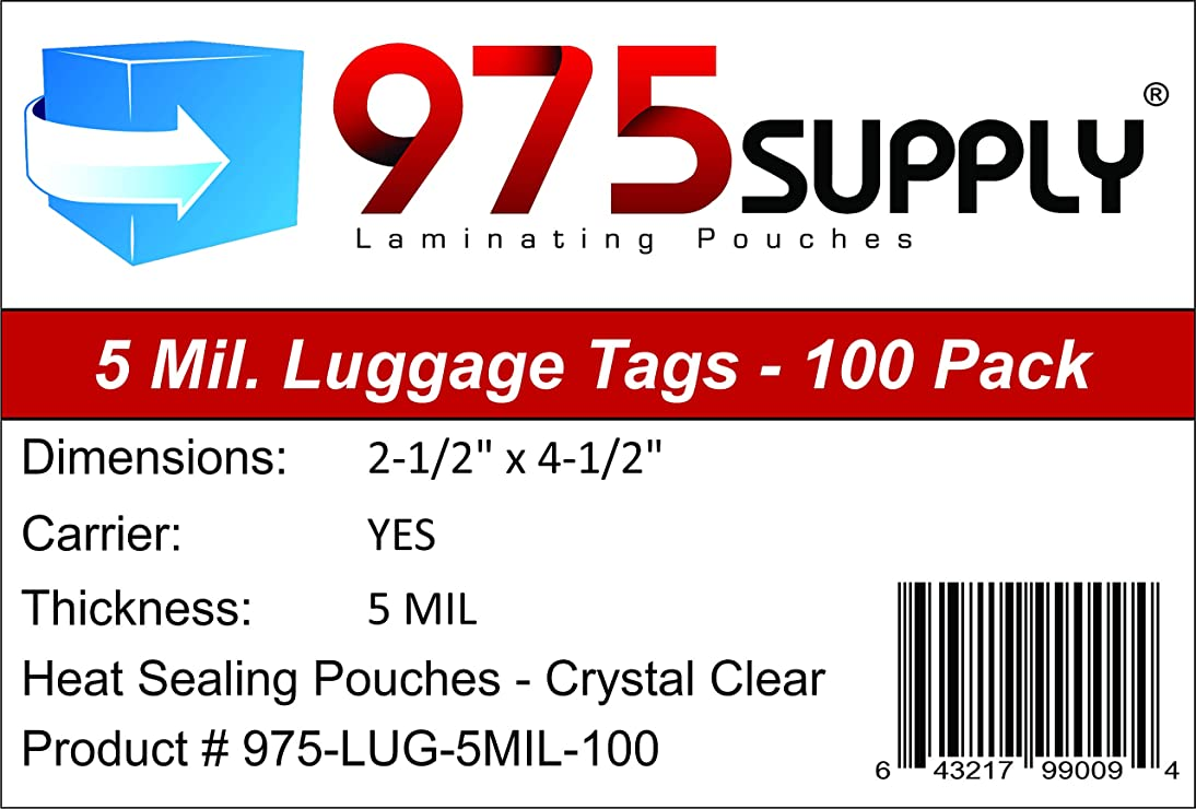 975 Supply - Luggage Tag Laminating Pouches - 2-1/2