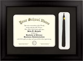 Celebration Frames Matte Black Finish Infinity Diploma Frame (fits 8 x 10 Document) with Tassel Box Black and Silver Mats