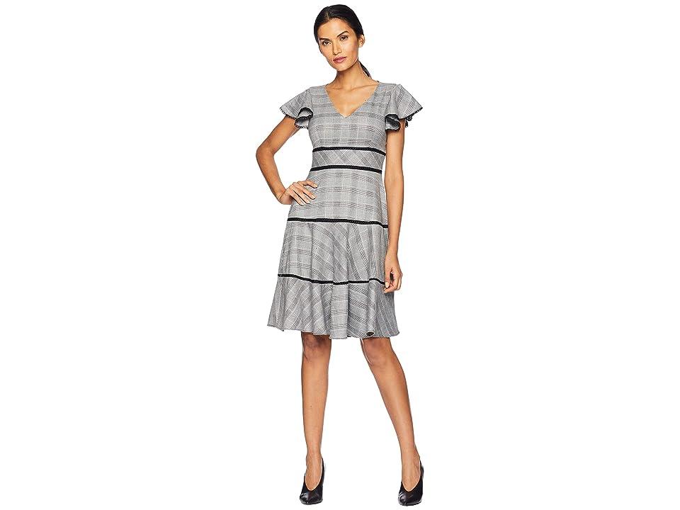 Taylor Flutter Sleeve Mini Plaid A Line Dress (Black/Ivory) Women